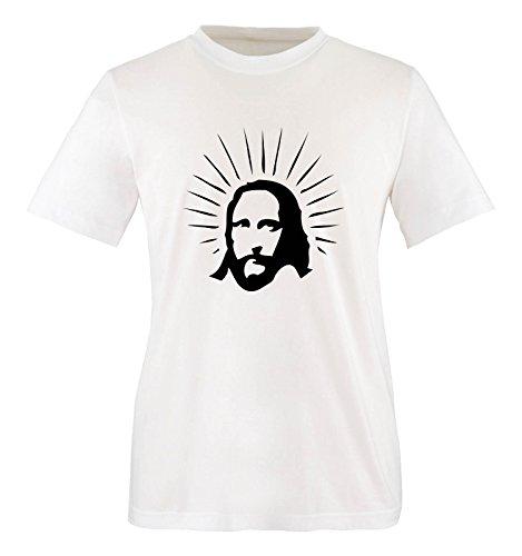 Comedy Shirts - Jesus Shine - Mädchen T-Shirt - Weiss/Schwarz Gr. 110-116 -