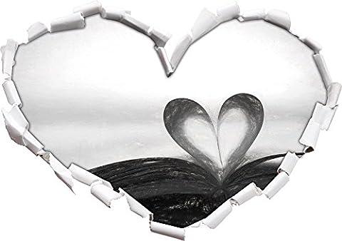 Coeur d'une page d'un livre, l'effet de charbon de bois En forme de coeur dans le regard 3D, mur ou une porte autocollant Format: 92x64.5cm, Stickers muraux, Stickers muraux, Décoration murale