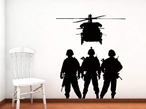 JXYY militärische kräfte wandaufkleber familie armee soldaten silhouette wandbild militär serie cool vinyl poster raumdekoration WM-173 58x76 cm -