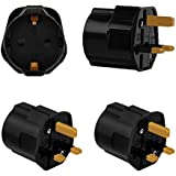 Incutex 2x Reisestecker UK GB England Travel Adapter EU Schuko 2-Pin auf UK 3-Pin Reise Steckdosenadapter Schwarz