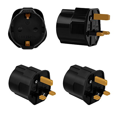 Incutex 2x adaptateurs de voyage UK, GB, Angleterre Schuko, 2 broches Europe vers 3 broches RU, noir