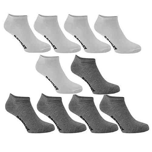 10Paar Pack Donnay Knöchelsocken Trainer Sport-Socken für Männer Frauen und Kinder Multipack Gr. 39-46, Weiß/Grau