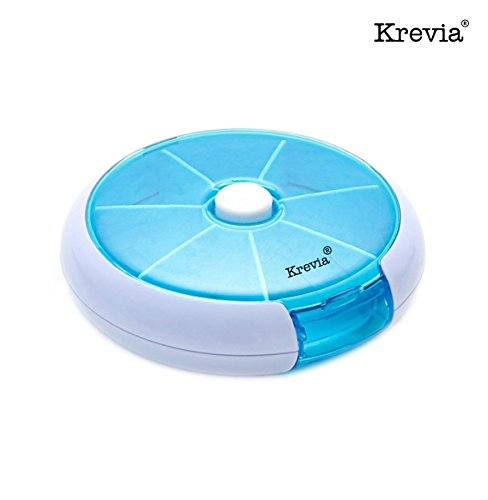 Krevia Portable Multi function 7 Day Round Pill Box Medicine Storage Case Container(Color May Vary)