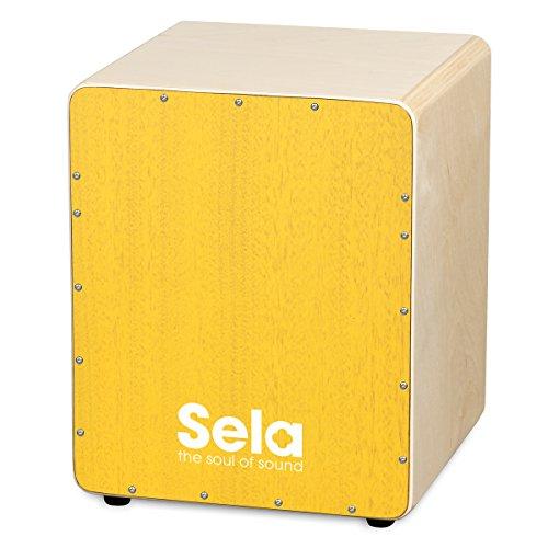Sela SE 072 Varios Mini Kinder Cajon mit Sela Snare System, geeignet für Kids und Anfänger, Made in Germany, Gelb