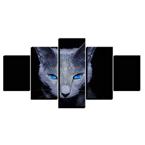 WHdazhuan Leinwandbild Wohnzimmer Dekoration Hd Poster 5 Stücke Tier Blauen Augen Graue Katze Malerei Wandkunst-20x35 20x45 20x55cm-Rahmenlos