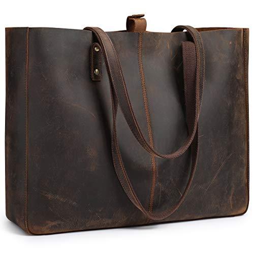 S-ZONE Damen Handtasche Vintage Crazy Horse Leder Tote Schultertasche - Leder Datei Tragetaschen