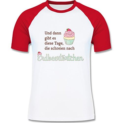 Statement Shirts - Und dann gibt es diese Tage, die schreien nach Erdbeertörtchen - zweifarbiges Baseballshirt für Männer Weiß/Rot