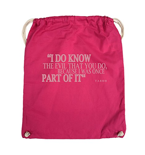 Comedy Bags - I DO KNOW THE EVIL - TABOO - Turnbeutel - 37x46cm - Farbe: Schwarz / Pink Pink / Rosa