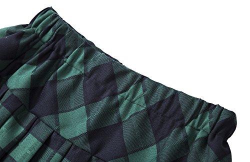 Urbancoco Damen Schulmädchen-Stil Tartan Skater Röcke #5 grün