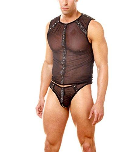 DuuoZy Men es sexy Sheer Mesh Nieten Unterwäsche Set Weste und Höschen, schwarz, eine Größe (Erwachsene Für Nieten-weste)