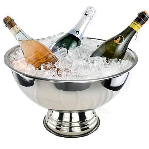 Smartweb Sektkühler Edelstahl Champangerschale Kühler Champanger Flaschenkühler Wein Schale