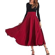 BFUSTYLE Mujeres All Seasons de cintura alta Swing plisado de longitud completa Front Slit Belted Maxi