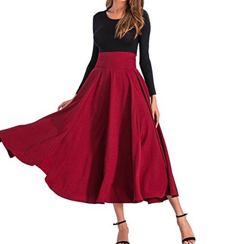 BFUSTYLE Mujeres Primavera Retro Cintura Alta Plisada Falda con cinturón con Dos Bolsillos Laterales