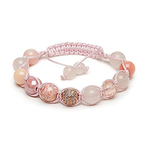 Rose Quartz Fertility Shamballa Bracelet Rose Gold Pave Crystal Ladies MADE IN BRITAIN