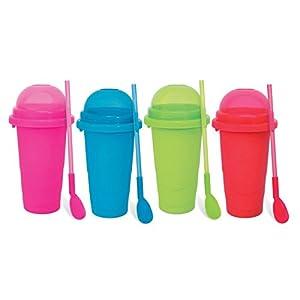 Chillfactor Slusheis Maker/Slush Eis Maschine in 4 verschiedenen Farben, BPA-Frei/Lebensmittelecht - Slushymaker, Eisbecher 240 ml, Wassereis selber machen (Bunt)