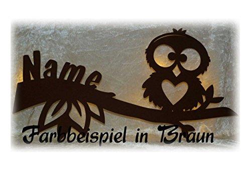 """Schlummerlicht24 Led Holz Möbel Zimmer-Einrichtung Wand-Lampe Eule Nachtlicht """"Hearty"""", Geschenk-Artikel mit Name-n individuell Geburtstag-sgeschenk Mädchen Junge-n Frauen-Geschenke"""