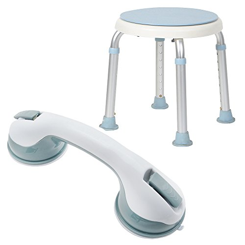 HENGMEI Duschhocker Duschstuhl Badehocker+ Badewannengriff Haltegriff Saugnapf Haltegriffe Schwangere für ein Duschen und Baden (Modell A, 360°)