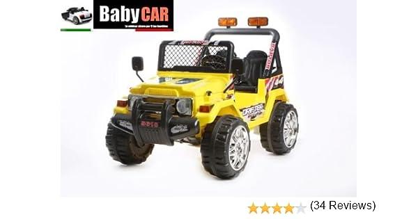 Auto Elettrica Per Bambini e Telecomando Jeep Radiocomandata 2 Posti 12v Giallo