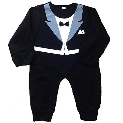 14 Jährige Der Kostüm - Lexikind Baby Strampler Smoking für Jungen - Anzug mit Fliege (Größe 90, 12-18 Monate, schwarz)