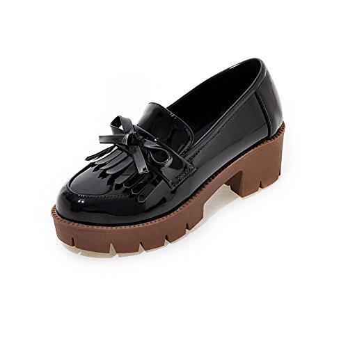 AllhqFashion Femme Couleur Unie Verni à Talon Correct Tire Rond Chaussures Légeres Noir