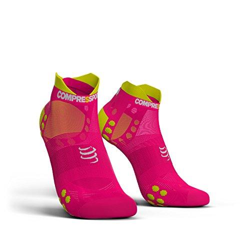Feetures Low Cut Sock (Compressport Pro Racing Socks V3.0 Ultralight Run Low unisex - kurze Running Laufsocken Sport Strumpf Sneaker Socke (pink, T4 (45-48)))