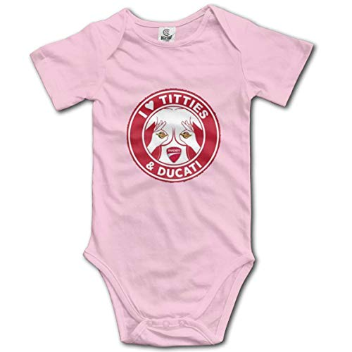 cvbnch I Love Titties And Ducati Baby Bodysuit Outdoors Short Sleeve Jumpsuit White Kimono Unisex Cotton Red New