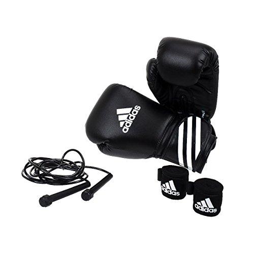 Gewichte Boxen (adidas Boxing Kit Set Boxhandschuhe Springseil Bandagen Boxen ADIBPKIT04, Farbe:Schwarz, Gewicht:8 OZ)