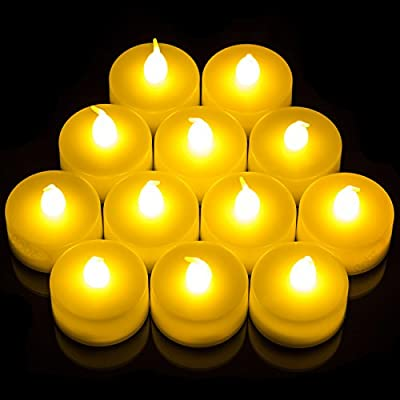 Babz 12 x FLICKERING LED TEA LIGHT CANDLES TEALIGHT TEA LIGHTS WITH FREE BATTERIES - inexpensive UK light shop.