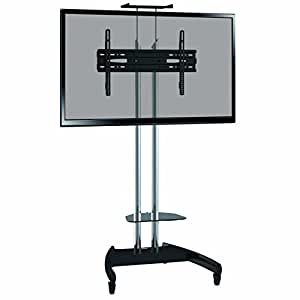 proper portable display tv trolley stand with shelf for 32 39 40 48 55 60 70 75 inch. Black Bedroom Furniture Sets. Home Design Ideas