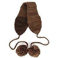 SUPRERHOUNG Pelucas Hechas a Mano de la Bola del Pelo con Cordones Orejeras térmicas de Invierno cálido Acogedor (Gris) (Color : Coffee, tamaño : 10.5cm)