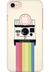 AMEZ designer printed 3d premium high quality back case cover for Apple iphone 7 (With Apple Logo) (Polaroid Camera Colorful Rainbow)