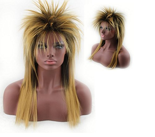 Long Yellow Spiky Punk Rock Chick Wig
