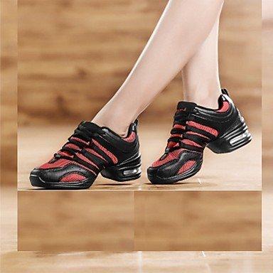 Silence @ Chaussures de danse pour femme Tissu Tissu Dance Sneakers appartements/Sneakers basses Heelprofessional/intérieur/extérieur/Performance Noir/doré