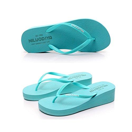 ALUK- Eté - pente avec le mot glisser le fond de la plage sandales pieds chaussons cool ( Couleur : Bleu , taille : 37-Shoes long235mm ) Bleu