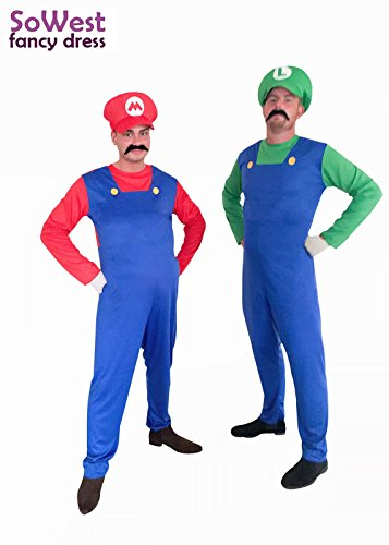 ner Super Mario Luigi Bros Klempner-Brüder Abendkleid-Ausstattungs-Kostüm (Super Mario Kostüm Für Männer)
