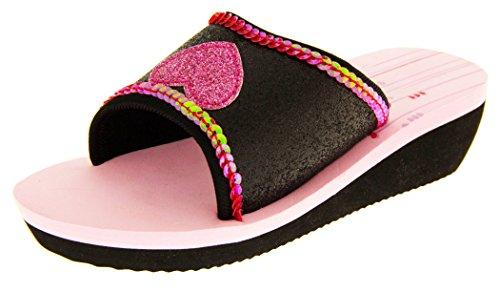 De Fonseca Bambina Nero Con Glitter Rosa Cuore Estate Infradito Sandali Scarpe Da Spiaggia EU 29