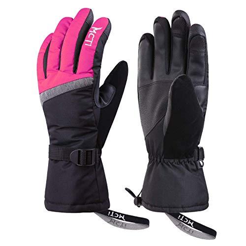 Kineed Skihandschuhe Damen Touchscreen Winterhandschuhe Wasserdicht Snowboardhandschuhe Winter Warm Schnee Handschuhe Winddicht 3M Thinsulate Rosa M