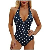 Sylar Traje de Baño Una Pieza para Mujer Bikinis Mujer Push Up con Relleno Estampado Punto de Ola Monokini Bañadores de Mujer Natacion Ropa de Baño de Playa