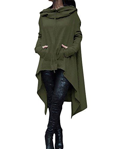 Sweat-shirt à Capuche Femme Manche Longue Asymétrique Hoodie Pull Tunique Jumper Veste Armée verte