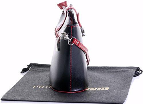 Fatta piccola croce corpo o borsa a tracolla borsa a mano pelle liscia italiana.Include una custodia protettiva marca Nero & rosso