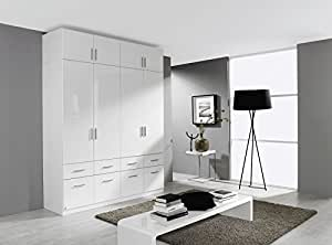 rauch kleiderschrank celle 4trg hochglanz wei mit aufsatz b h t. Black Bedroom Furniture Sets. Home Design Ideas