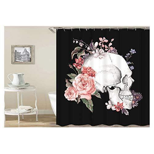 KnSam Rideau de Douche Noir 165 x 200 cm Fleur Lateral Crâne Polyester Imperméable Rideau de Baignoire avec des Crochets