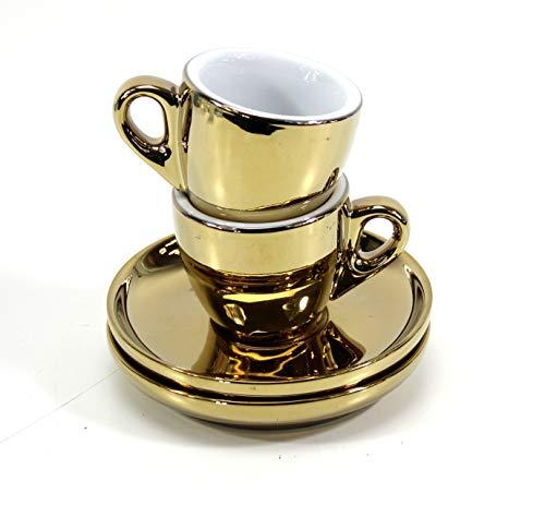 Espresso-Tassen Set 2x 55ml GOLD Porzellan dickwandig mit Untertasse ~ys 2 1034+