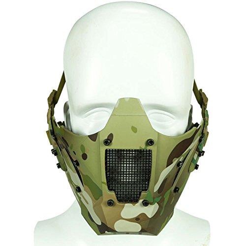 Airsoft Taktische Halbe Gesicht Schutz Stahl Mesh Maske Unteren Gesicht Camo - Camo Helm Airsoft