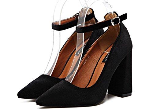 YCMDM Femmes Velvet Zipper Boucle Pointues Bouche Basse Talons Chaussures Chaussures Simple Black