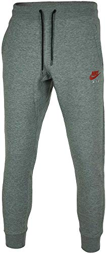 Nike Air Herren Hosen Mens Skinny Fit Jog Pant NSW Pant Fleece Tracksuit Bottoms Cuffed Joggers New 809060 (Gray (Carbon Heather/Bright Crimson), S) - Nike Jog Pants