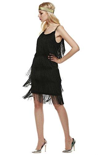 Wekold Mode Damen Straps Kleid Quasten Glam Party Kleid Gatsby Fringe Flapper Kostüm ()