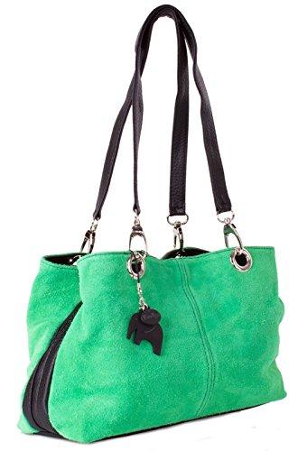 Big Handbag Shop kleine Damen Umhängetasche mit mehreren Reißverschlusstaschen aus Wildleder Green - Black Trim