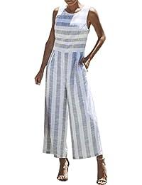 HCFKJ Combinaison Femme Combinaison Femme Chic pour SoiréE Combinaison Femme  Ete Pantalon RayéE sans Manches Casual 50706e8920a