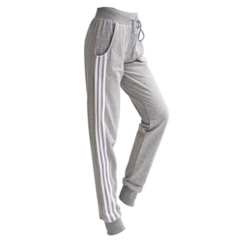 VWU Femme Fitness Pantalon de Sport Yoga Running Jogging Trois Rayures Slim Survêtements Pantalons Décontractés Avec des poches Gris